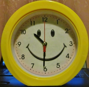 A smiling alarm clock...