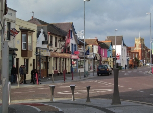 Shops at the western end of Albert Road, from outside the Kings Theatre...