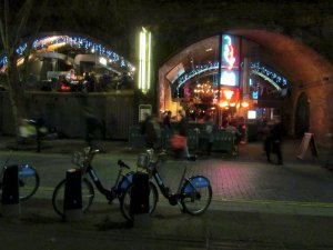 And if you wander back towards Waterloo station from the Royal Festival Hall, you'll probably pass by Archdukes at the top of Concert Hall Approach (and notice the Boris Bikes in the foreground, a latter-day feature of the London landscape ;).