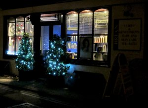 A festive Brian's Hairdresser's, at the top of East Malling High Street...