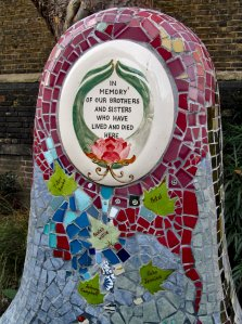 The rather poignant headpiece to a four-seater mosaic bench in St. John's Churchyard...