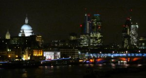 View downstream from Waterloo Bridge...