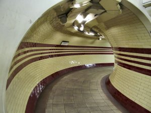 An aesthetically pleasing curved corridor near the lifts down to the platforms at Hampstead Tube station. If the lifts are out of action this corridor leads to a staircase ... ;)