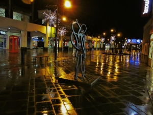 A rainy West Street at around seven this evening...