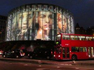 The IMAX cinema illuminated...