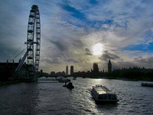 View upstream from Hungerford Bridge...