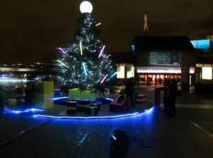 The Christmas Tree in front of the Queen Elizabeth Hall...