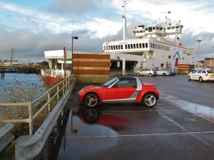 Red car at Town Quay...