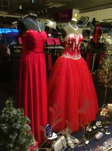 Two red dresses in a shop in West Street, Fareham...