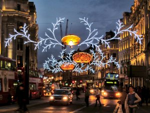 Christmas lights at the top end of Regent Street, near Oxford Circus...