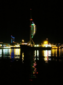 Spinnaker Tower, and reflections, as seen from aboard the Gosport Ferry...