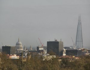 Zooming in, to show St. Paul's Cathedral and The Shard, London's tallest building...