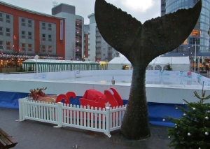 A tailfin sculpture amid some Christmas paraphenalia at Gunwharf Quays...