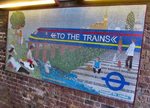 'To the Trains' another mosaic, in an underpass leading to Waterloo station...