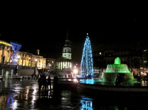 Trafalgar Square from its western side...