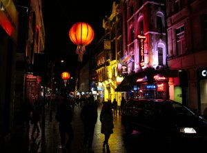 Wardour Street, at the western edge of London's Chinatown...