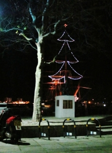 Christmas Tree lighting on a mast of HMS Warrior, Portsmouth Hard...