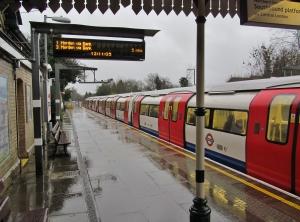 Awaiting a Kennington via Charing Cross train at Woodside Park Tube station