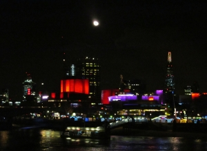 An illuminated South Bank, from Hungerford Bridge, at around a quarter to ten in the evening...